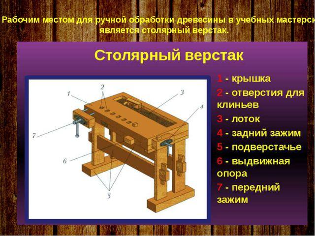 Рабочим местом для ручной обработки древесины в учебных мастерских является...