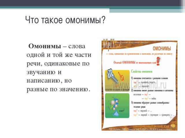 Что такое омонимы? Омонимы – слова одной и той же части речи, одинаковые по з...