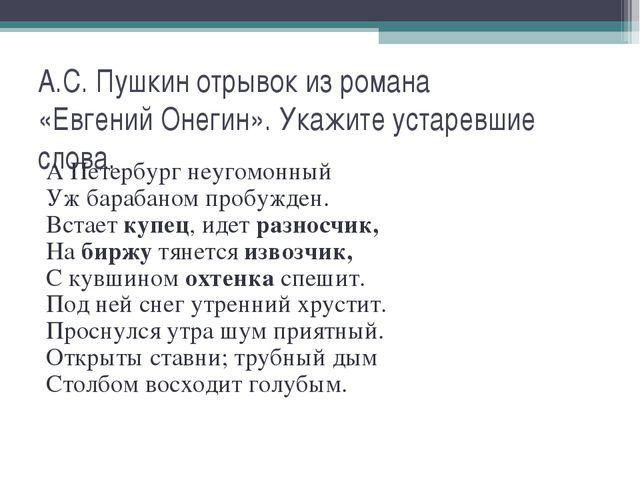 А.С. Пушкин отрывок из романа «Евгений Онегин». Укажите устаревшие слова. А П...