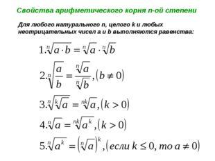 Свойства арифметического корня n-ой степени Для любого натурального n, целого
