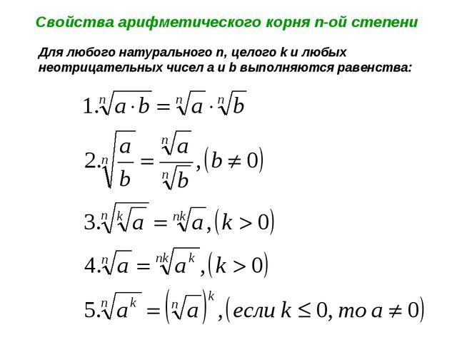 Свойства арифметического корня n-ой степени Для любого натурального n, целого...