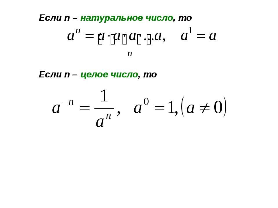 Если n – натуральное число, то Если n – целое число, то