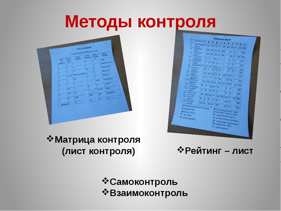 Методы контроля Самоконтроль Взаимоконтроль Рейтинг – лист Матрица контроля (...