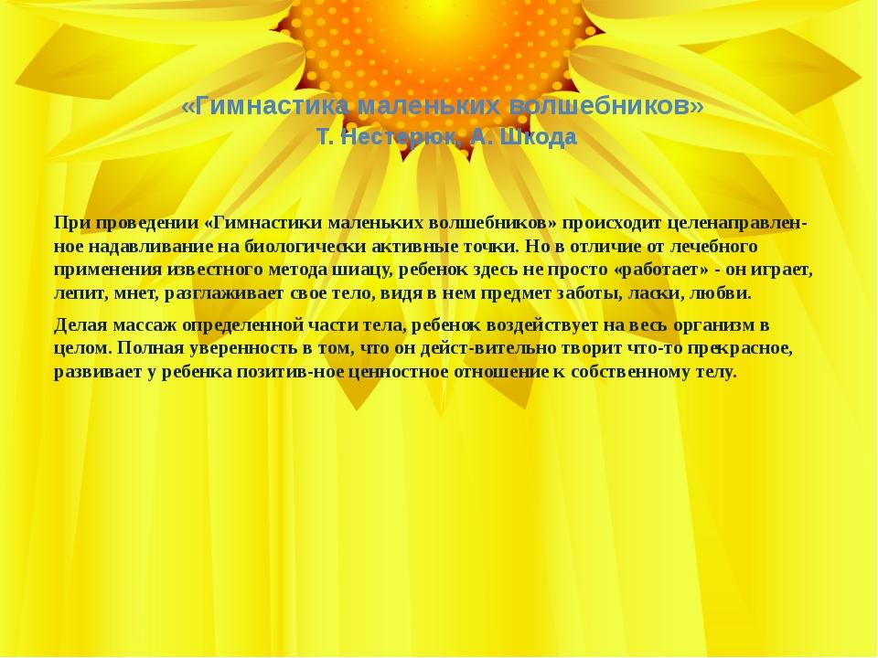 «Гимнастика маленьких волшебников» Т. Нестерюк, А. Шкода При проведении «Гимн...
