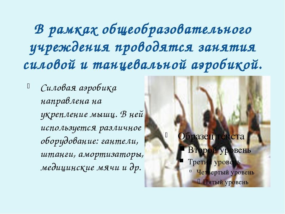 В рамках общеобразовательного учреждения проводятся занятия силовой и танцева...
