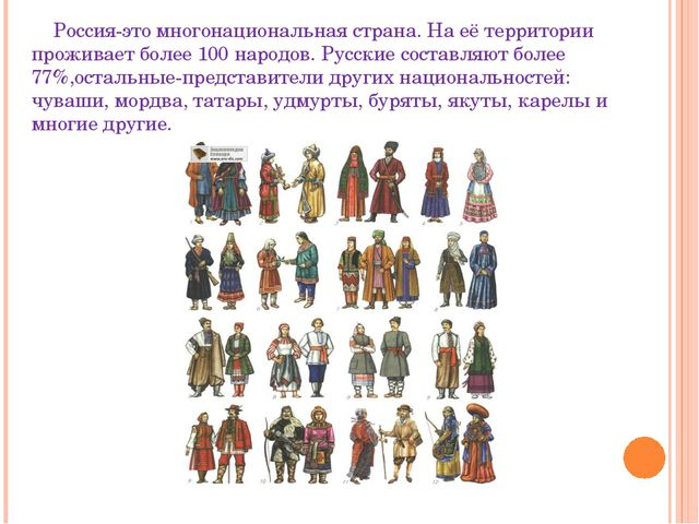 Россия-это многонациональная страна. На её территории проживает более 100 на...