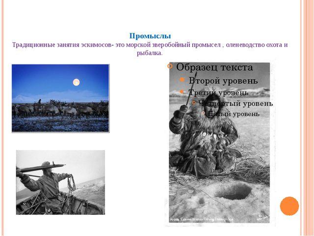 Промыслы Традиционные занятия эскимосов- это морской зверобойный промысел ,...