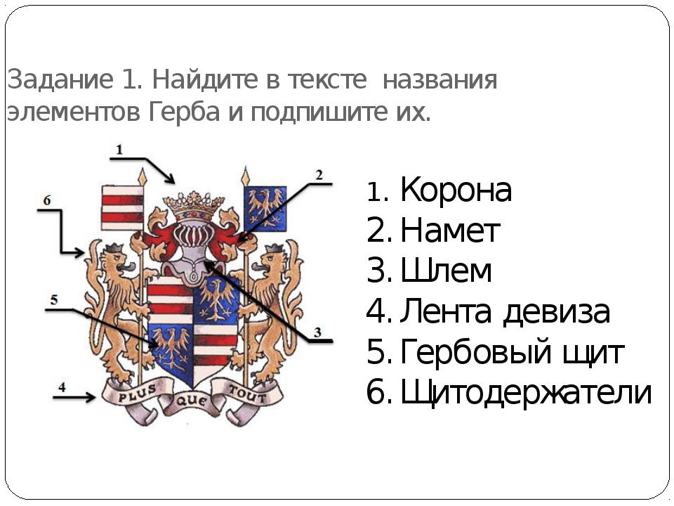 Задание 1. Найдите в тексте названия элементов Герба и подпишите их. 1.Корон...