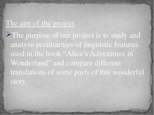 The aim of the project The purpose of our project is to study and analyze pe