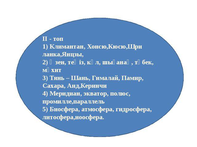 ІІ - топ 1) Климантан, Хонсю,Кюсю,Шри ланка,Янцзы, 2) Өзен, теңіз, көл, шыған...