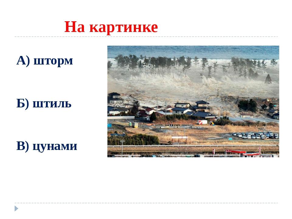На картинке А) шторм Б) штиль В) цунами