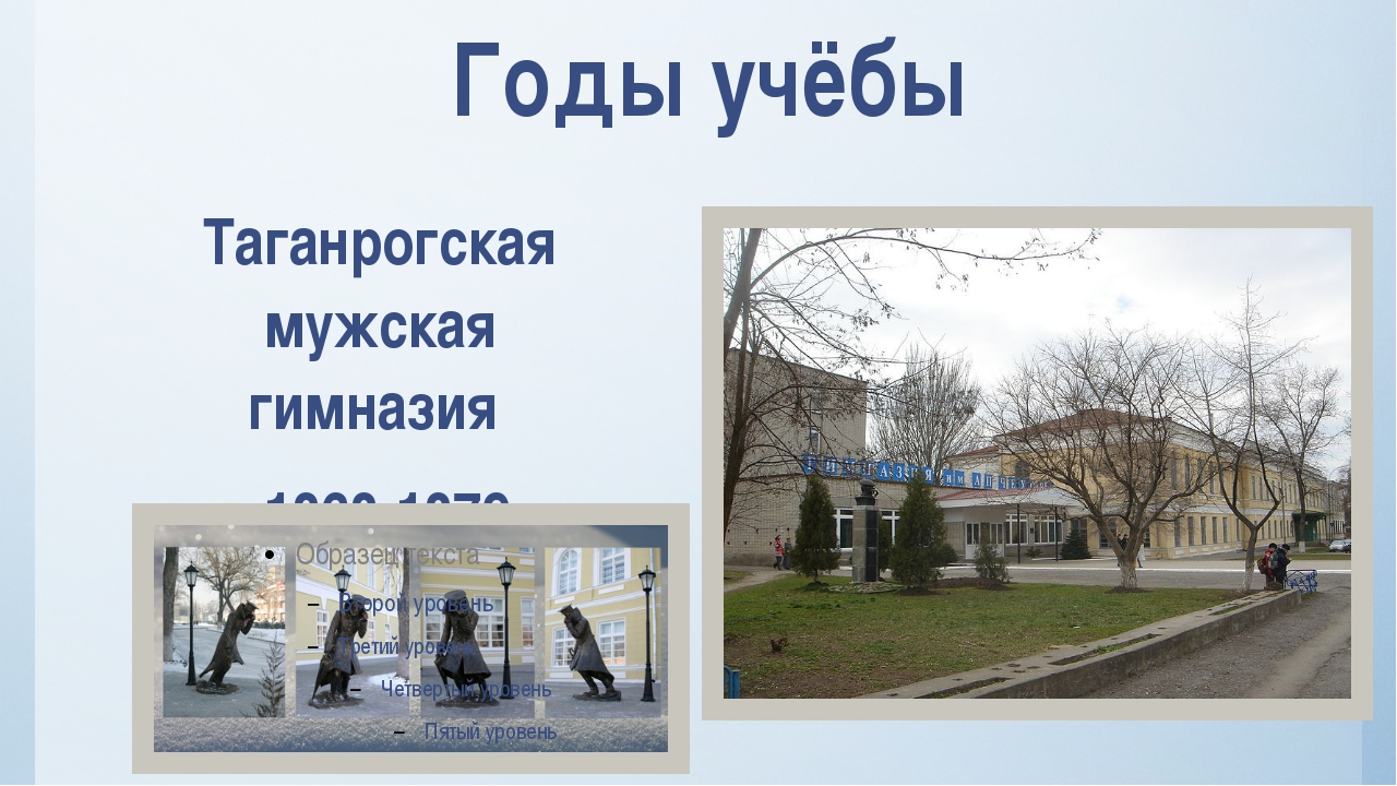 Годы учёбы Таганрогская мужская гимназия 1868-1879