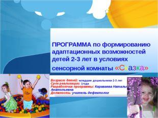 ПРОГРАММА по формированию адаптационных возможностей детей 2-3 лет в условия