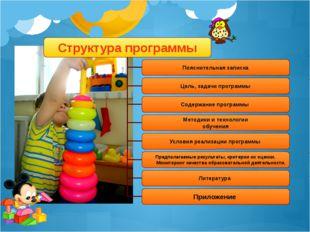 Структура программы Пояснительная записка Цель, задачи программы Содержание