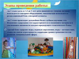 Этапы проведения работы: -на 1 этапе (дети от 1,5 до 3 лет) дети знакомятся с