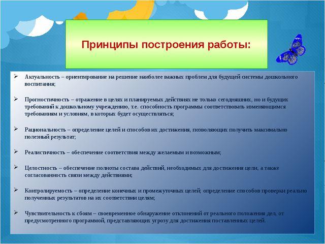 Принципы построения работы: Актуальность – ориентирование на решение наиболее...