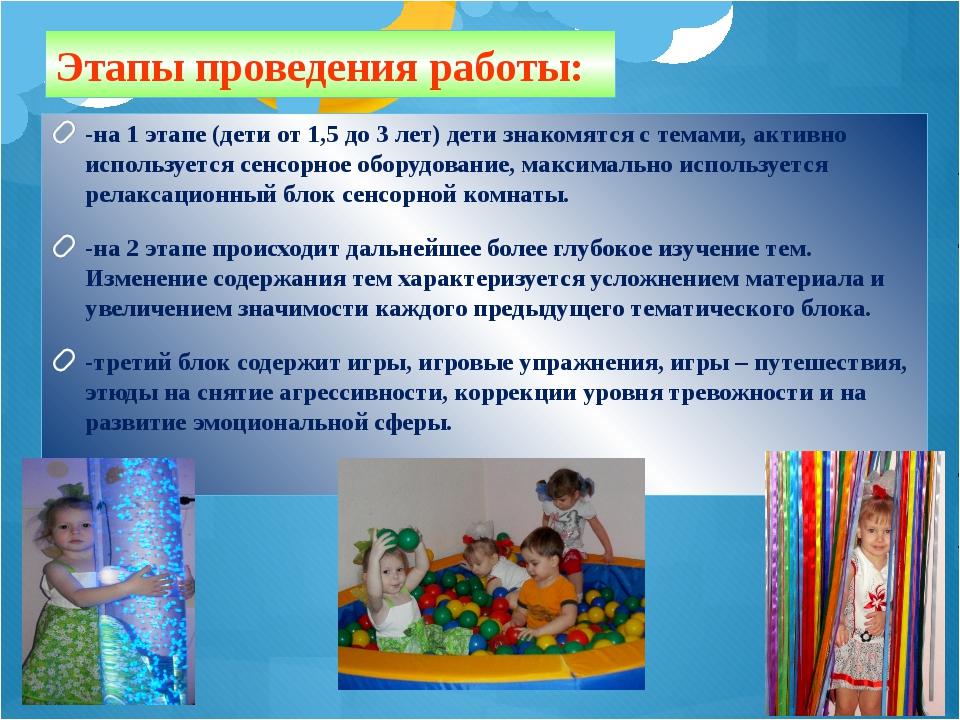 Этапы проведения работы: -на 1 этапе (дети от 1,5 до 3 лет) дети знакомятся с...