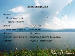 Визитная карточка Авторы: Попович Алексей Терентьев Кирилл Школа: ССОШ №1 Пре