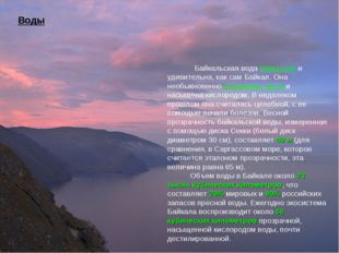 Воды Байкальская вода уникальна и удивительна, как сам Байкал. Она необыкнове