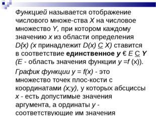 Функцией называется отображение числового множества X на числовое множество