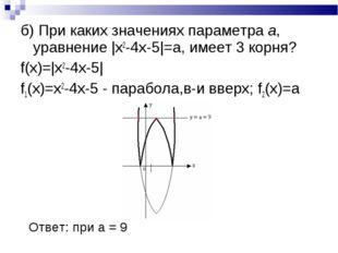 б) При каких значениях параметра a, уравнение |x2-4x-5|=a, имеет 3 корня? f(x