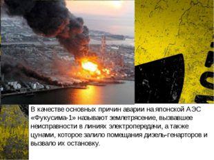 В качестве основных причин аварии на японской АЭС «Фукусима-1» называют земле