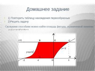 Домашнее задание 1) Повторить таблицу нахождения первообразных 2)Решить зада