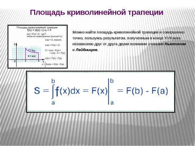 Площадь криволинейной трапеции Можно найти площадь криволинейной трапеции и с...