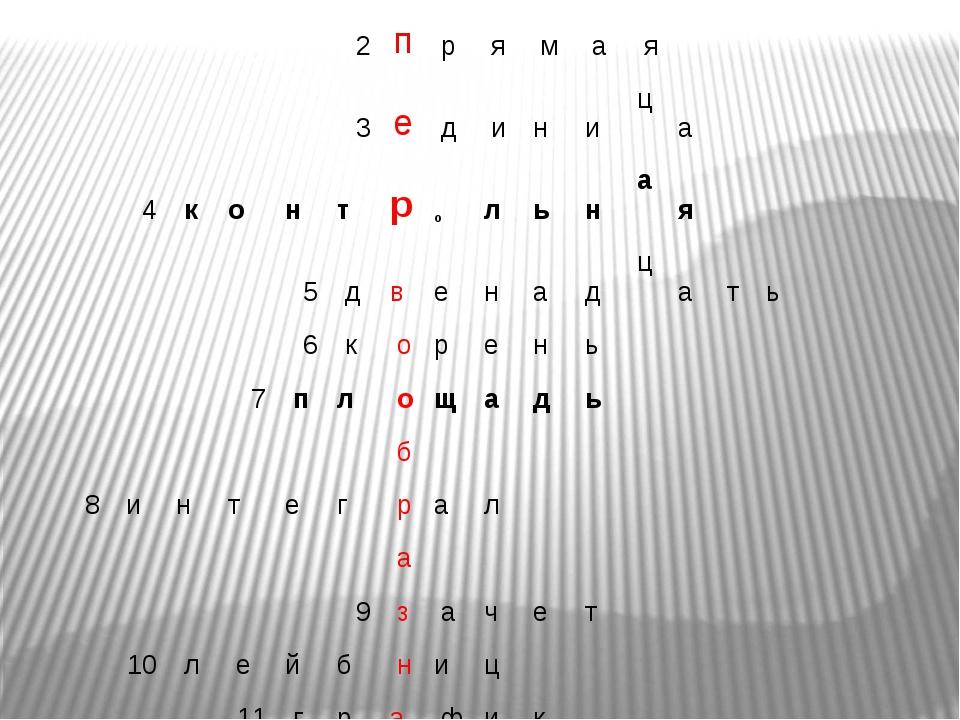 2 п р я м а я 3 е д и н и ц а 4 к о н т р о л ь н а...