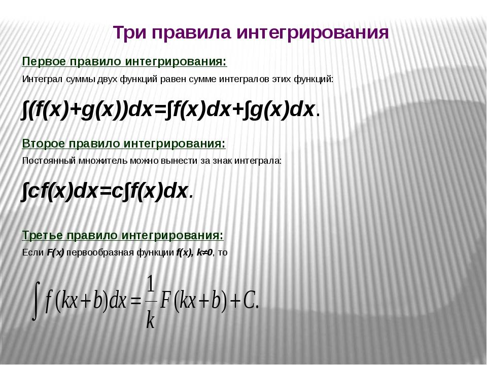 Первое правило интегрирования: Интеграл суммы двух функций равен сумме интег...