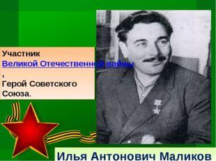 Илья Антонович Маликов Участник Великой Отечественной войны, Герой Советского