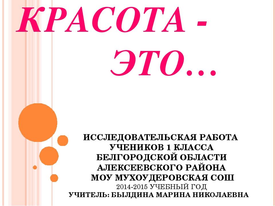КРАСОТА - ЭТО… ИССЛЕДОВАТЕЛЬСКАЯ РАБОТА УЧЕНИКОВ 1 КЛАССА БЕЛГОРОДСКОЙ ОБЛАСТ...