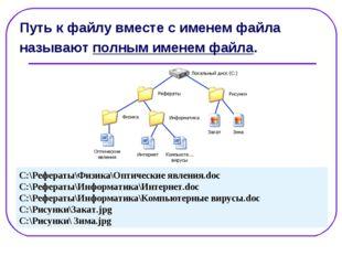Путь к файлу вместе с именем файла называют полным именем файла. C:\Рефераты\