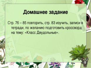 Домашнее задание Стр. 76 – 85 повторить, стр. 83 изучить, записи в тетради, п