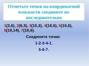 Отметьте точки на координатной плоскости соедините их последовательно 1(3,6),
