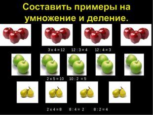 3 х 4 = 12 12 : 3 = 4 12 : 4 = 3 2 х 5 = 10 10 : 2 = 5 2 х 4 = 8 8 : 4 = 2 8