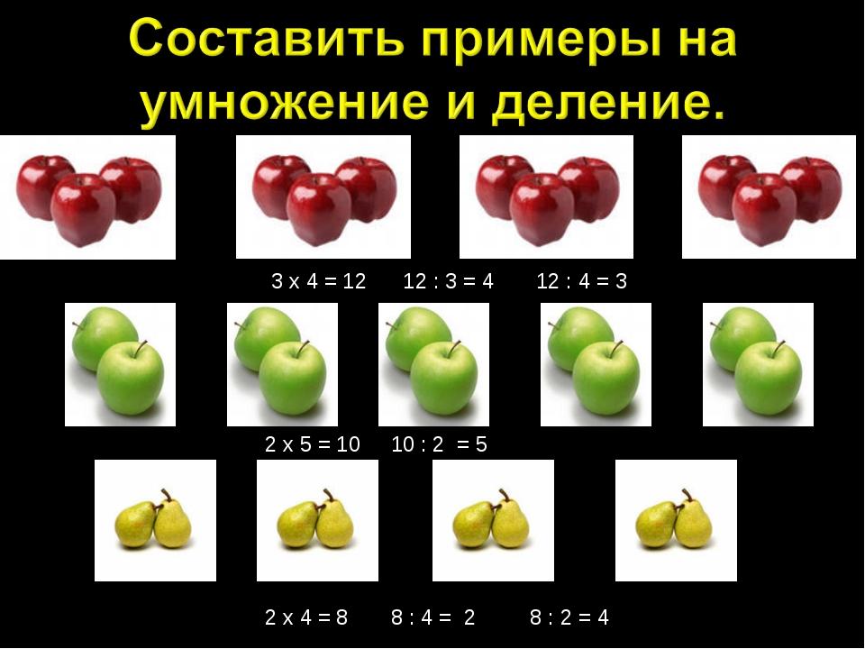 3 х 4 = 12 12 : 3 = 4 12 : 4 = 3 2 х 5 = 10 10 : 2 = 5 2 х 4 = 8 8 : 4 = 2 8...