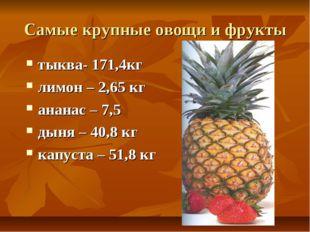 Самые крупные овощи и фрукты тыква- 171,4кг лимон – 2,65 кг ананас – 7,5 дыня