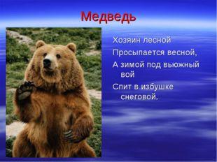 Медведь Хозяин лесной Просыпается весной, А зимой под вьюжный вой Спит в избу