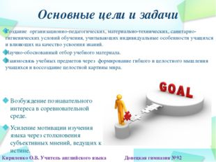 Основные цели и задачи Создание организационно-педагогических, материально-те