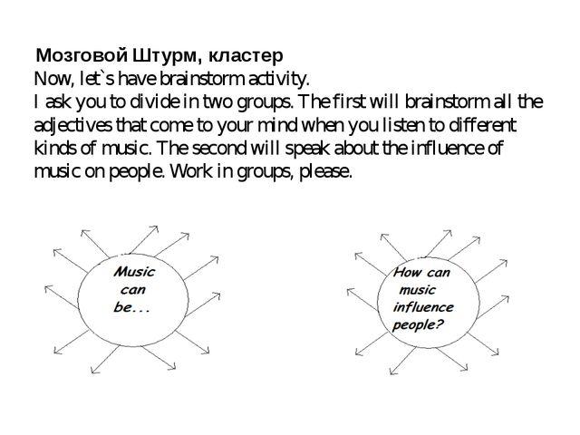Мозговой Штурм, кластер Now, let`s have brainstorm activity. I ask you to di...