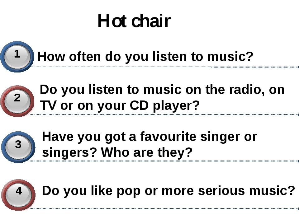 Hot chair How often do you listen to music? Do you listen to music on the rad...