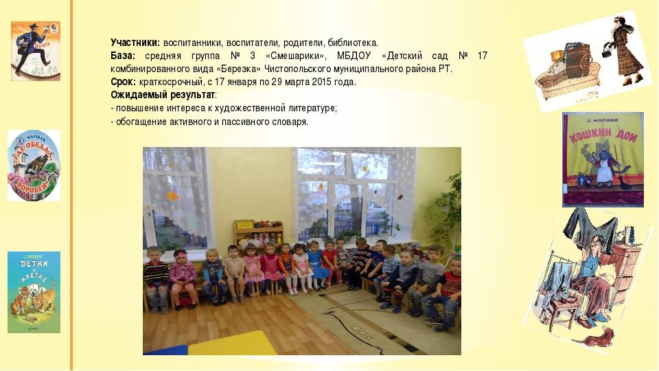 Участники: воспитанники, воспитатели, родители, библиотека. База: средняя гр...