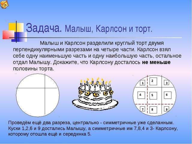 Задача. Малыш, Карлсон и торт. Малыш и Карлсон разделили круглый торт двумя п...