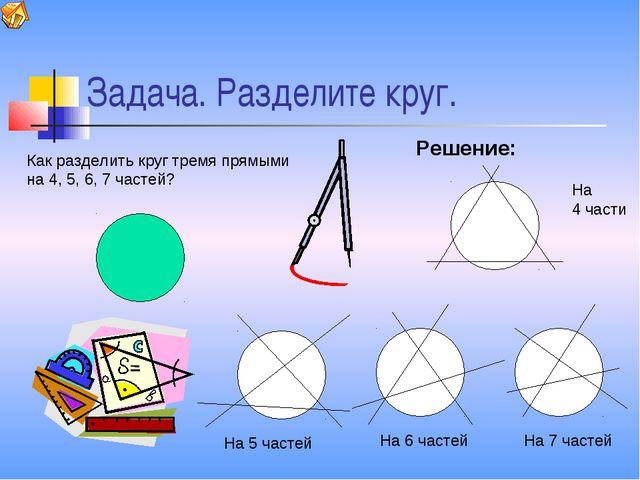 Задача. Разделите круг. Как разделить круг тремя прямыми на 4, 5, 6, 7 частей...