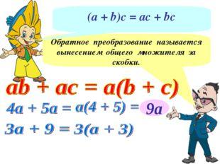 9а Обратное преобразование называется вынесением общего множителя за скобки.