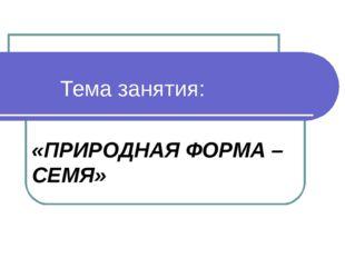 Тема занятия: «ПРИРОДНАЯ ФОРМА – СЕМЯ»