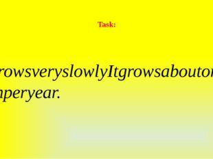 Task: ItgrowsveryslowlyItgrowsaboutoneinchperyear.