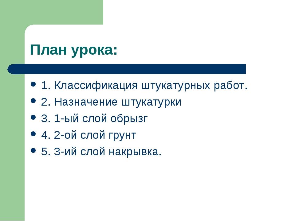 План урока: 1. Классификация штукатурных работ. 2. Назначение штукатурки 3. 1...