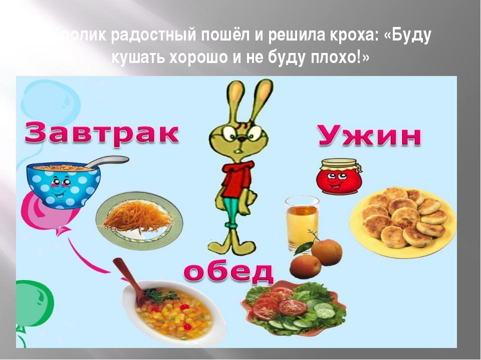 Кролик радостный пошёл и решила кроха: «Буду кушать хорошо и не буду плохо!»